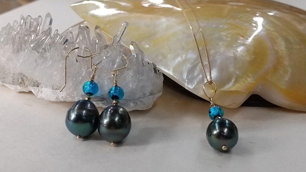 14kgfのシンプルデザインの黒真珠